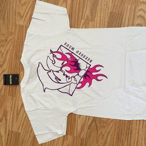 NWT PINK DOLPHINS BLESSED WAVES WHITE